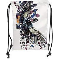 ZKHTO Drawstring Sack Backpacks Bags,Feather,Ethnic Boho Fashion Theme Headdress with Colorful Ink