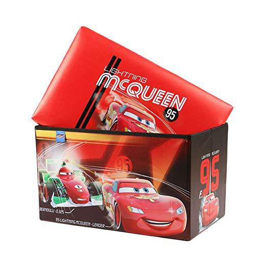 unstleder Sofa Hocker 2 stücke Niedlichen Cartoon Auto Aufbewahrungsbox Wasserdichte Lagerung Spielzeug Box Geeignet für Kindergarten Restaurant Bar ()