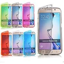 Semoss Transparente TPU Flip Funda de Carcasa Cover Para Samsung Galaxy S6 Silicona Bumper Gel Piel-Negro