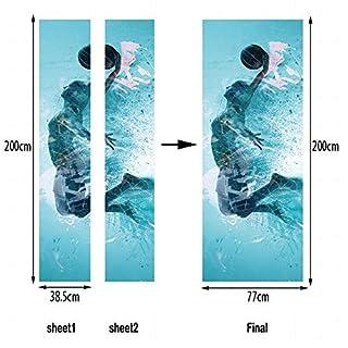 NANIH home Fliegen heftig festgehalten für Basketball Kreative Tür Aufkleber Art Deco Wall Poster Tür Aufkleber Home Decor Wandaufkleber Tür Aufkleber Tapete Aufkleber Tür Wandbild Wasserdicht Selbstk