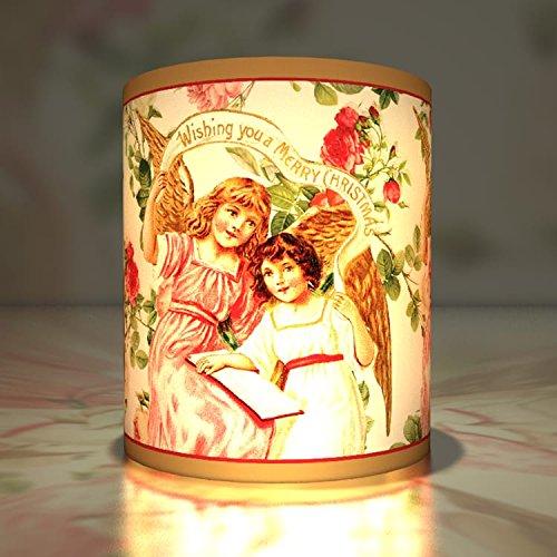 (Kartenkaufrausch 5 Vintage Weihnachts Teelichthalter - Merry Christmas Transparentlicht, Kleine Transparentpapier Leuchten mit Engeln als Weihnachtsdeko)