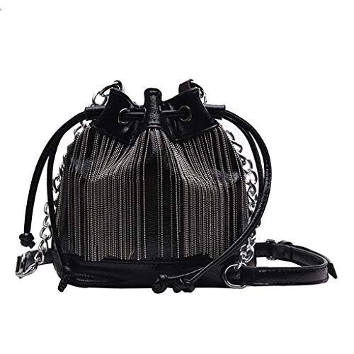 DOFENG Damen Quaste Strass Handtaschen Schulrucksack Schultaschen Rucksack Daypack Tagesrucksack Backpack Umhängetasche Reiserucksack für Schule Reise Arbeit (Schwarz, Eine Größe)