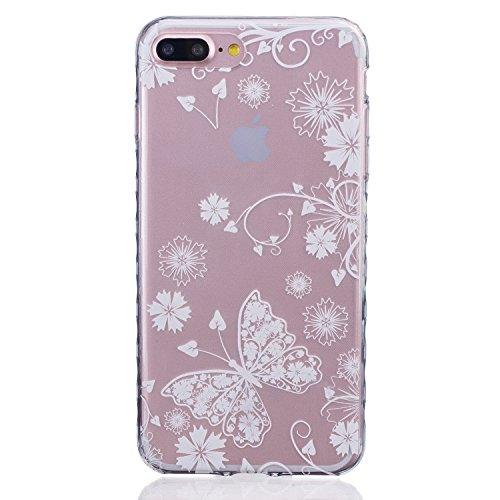 iPhone 7 PLUS Hülle, Cozy Hut ® [Liquid Crystal] [Ultra Dünn] Bumper-Style Premium-TPU / Sehr Leicht / Perfekte Passform / Durchsichtiges Soft-Case Schutzhülle für Apple iPhone 7 PLUS (5.5 zoll), Appl White Butterfly