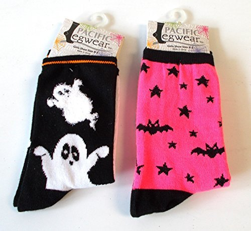 halloween-socks-ghost-black-hot-pink-bat-girls-9-3-nwt