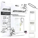 MNM DISTRIB Adaptateur Carte SIM Micro Nano ET Standard Blanc 3 en 1 avec EJECTEUR Carte SIM Universel Tous Telephone Toutes Marques