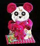 Windeltorte als Windelbär mit Handtuch-Tier in pink / rosa als originelles Geschenk zur Geburt, Taufe und Geburtstag, geschenkverpackt