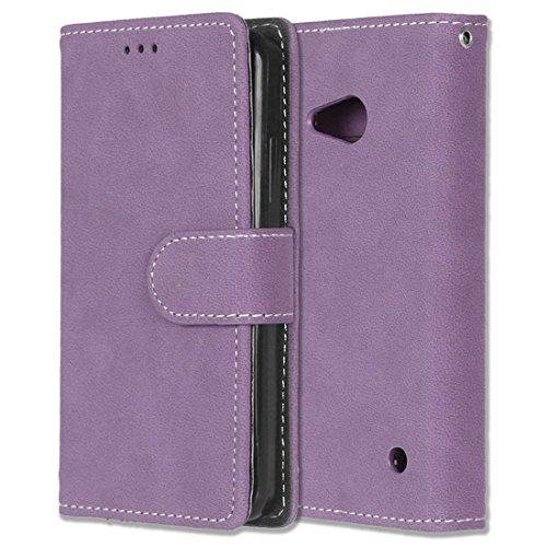 Microsoft Lumia 550 Hülle, Chreey Matt Leder Tasche Retro Handyhülle Magnet Flip Case mit...