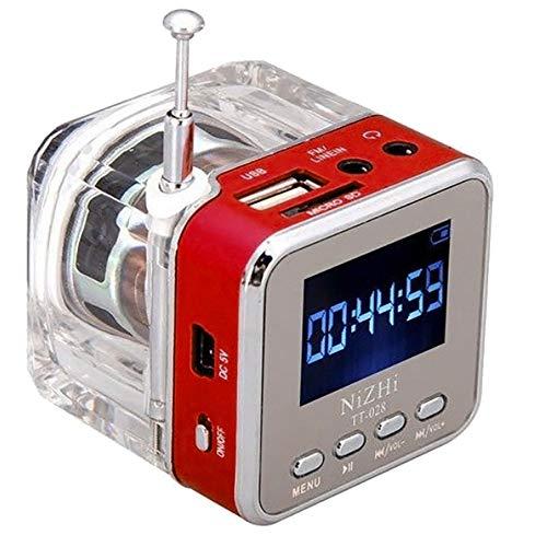 HCFKJ Mini USB MicroSD Karte FM Radio LCD Display Lautsprecher Musik MP3 Player (RD)