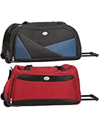 Treep Comet Fabric 29 Cms Blue And Red Hardsided Travel Duffle - Combo Of 2