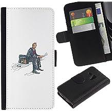 WonderWall (No Para S3 i9300) Fondo De Pantalla Imagen Diseño Cuero Voltear Ranura Tarjeta Funda Carcasa Cover Skin Case Tapa Para Samsung Galaxy S3 MINI I8190 I8190N - maleta en un lado, la lectura de noticias