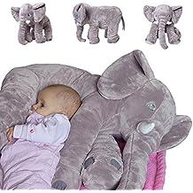 TE-Trend Elefant Kuscheltier zum Einschlafen Baby Kleinkind Plüschelefant aus flauschigem Plüsch 68 cm grau lila blau rosa