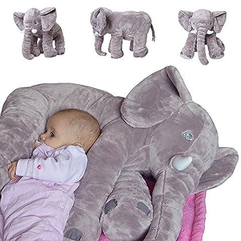 TE-Trend Elefant Kuscheltier zum Einschlafen Kissen Lagerungskissen Baby Kleinkind Plüschelefant aus flauschigem Plüsch 68 cm grau