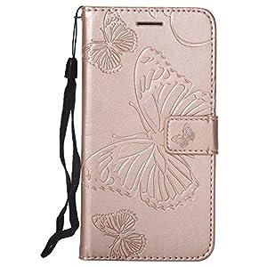 DENDICO LG G6 Hülle, PU Leder Handyhülle mit Standfunktion und Kartenfach, Schmetterling Muster Magnetverschluss Flip Brieftasche Etui TPU Schutzhülle für LG G6