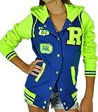 CBKTTRADE Damen College Jacke Old School Jacket Sweat Jacke Fox Hooded (XL/XXL, Fox Blau Gelb)