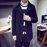 Spritech (TM) Hombre Nueva comodidad de moda otoño Slim Fit chaqueta de lana de cuello de aparcamiento Capote, negro, xxx-large