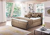 Boxspringbett in beige-braun-meliert, elektrisch, 2 Tonnentaschenfederkernmatratzen auf Taschenfederkern, 2 Gelschaumtopper Maße: 180 x 200 cm