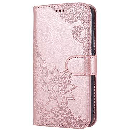 Handyhülle Kompatibel mit Huawei Y3 2018 Leder Tasche Luxus Retro Prägung Rose Blumen Muster...
