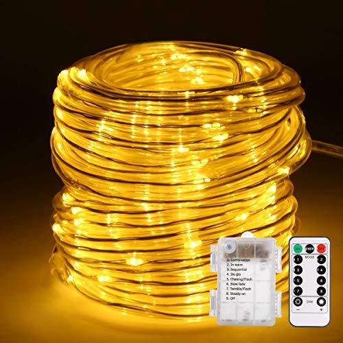 Lichterschlauch, ECOWHO 120 LED Lichterkette 14M IP67 8 Modi Batteriebetrieb Fernbedienung mit Memory-Funktion für außen innen Party Garten Weihnachten Deko.