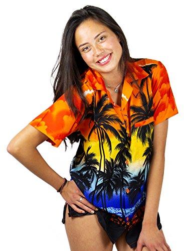 Tropical Camp-shirt (V.H.O. Funky Hawaiibluse, Hawaiihemd, Kurzarm, Beach, Orange, L)