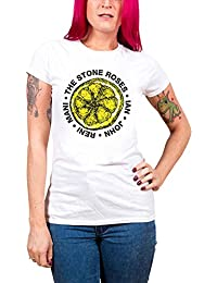 The Stone Roses T Shirt Lemon Names logo Nue offiziell damen Skinny Fit