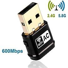 Adattatore Wireless USB WiFi, 600Mbit/s Dual Band (2.4G/150Mbps+5G/433Mbps) con tasto WPS per Windows 10/8.1/8/7/XP/Vista (32/64 bit), Mac OS