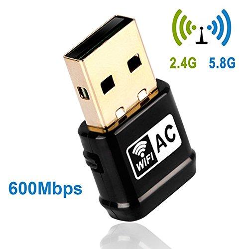 Wireless USB Wifi Adapter 600Mbit/s Dualband(2.4G/150Mbps+5G/433Mbps) Mini Wlan Stick mit WPS Taste für Windows 10/8.1/8/7/XP/Vista (32/64bits) Mac OS (Ac Adapter Für Hp Mini)