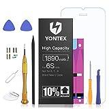 YONTEX 1890mAh Akku für IP 6S Ersatz, Hohe Kapazität 0 Zyklen Batterie, Ersatzakku mit komplettem Reparaturset, Klebestreifen und Bildschirmschutz