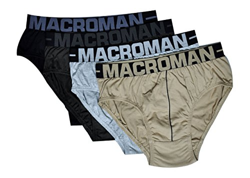 Macroman Men's Cotton Outer Elastic Brief (Pack Of 4) (M502-80-4_Multi-Coloured_Small)