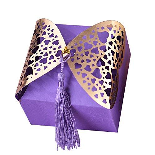 nalisierte Hochzeit favorisiert Liebes Herz Parteibevorzugungs Geschenk-Box Braut Dusche Baby-lila (Bonbons oder Pralinen nicht enthalten) ()