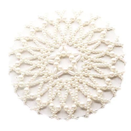 JUSTFOX - Perlen Dutt Netz Haarnetz Bun Frisurenhilfe Knotennetz Weiß Perlen