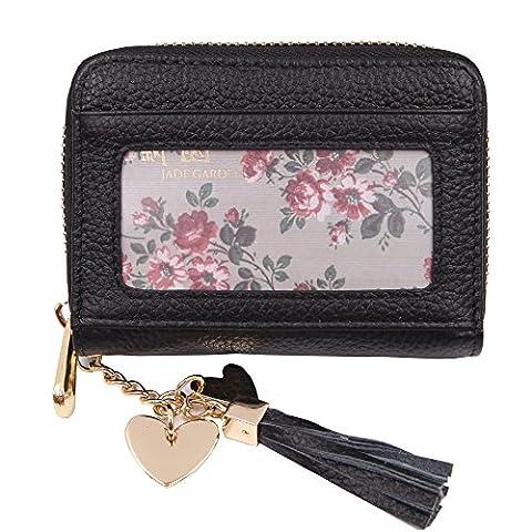 ZORESS Women's Credit Card Wallet RFID Blocking Genuine Leather Card Holder Case (Black)