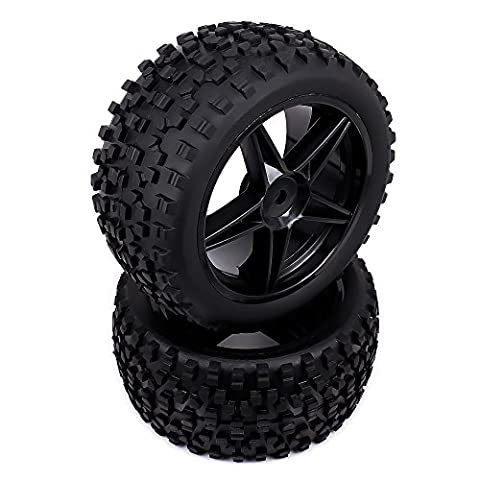 RCAWD Plastic Rear Wheel Rim Tire Complete 5 Spoke pour Rc Car 1/10 Buggy Off-Road Car HSP Traxxas HPI Kyosho 2Pcs(Noir)