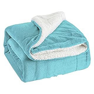 Bedsure Sherpa Blanket Aqua Blue Double/Twin Size (150 x 200cm) Fleece Bed Blankets Warm Fluffy Reversible Microfiber Solid Blankets for Bed and Couch
