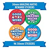 "96 30mm ""AMAZING MATHS"" school reward stickers numbers"