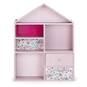 Maringa Etagère de rangement rose pour enfant en forme de maison Rose