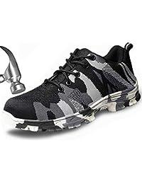 Nuevo Para hombres Gris Ultra Ligero Gorra Puntera De Acero Seguridad Entrenador Zapatos Trabajo Talla 8