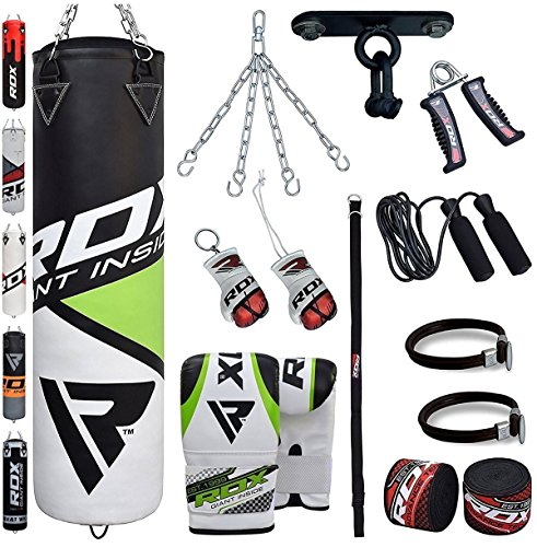 RDX-Punch-Bag-Filled-Set-Kick-Boxing-MMA-Heavy-Training-Gloves-Punching-Mitts-Hanging-Chain-Ceiling-Hook-Muay-Thai-13PC-Martial-Arts-4FT-5FT