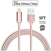 CellularOutfitter MFI Certified Apple Lightning to USB Sync and Charge Cable - 8-Pin Connector, 5-Foot Nylon Cord - Rose Gold