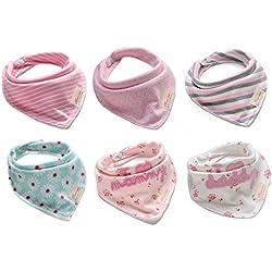 Bestbaby bebé Baba baberos del pañuelo para Niños Niñas dentición, alimentación, absorbente estupendo 100% de algodón, se ajusta a bebés y niños pequeños recién nacido (paquete de 6)