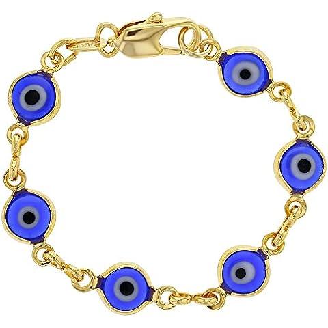 18K oro giallo placcato blu Greco Turco Evil Eye Bracciale neonato 4,5