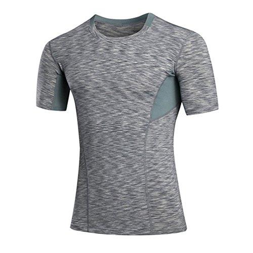 T-Shirt für Männer, Männer schnell trockenes Hemd, Polyester-Sportbekleidung Feuchtigkeits-Wicking Kurzarm-T-Shirt (US(L)-XL(CN)-Grau) (Feuchtigkeit Wicking T-shirts Für Männer)