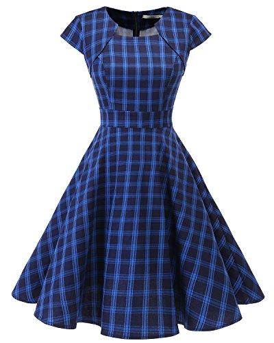 Plaid-kleid (HomRain Damen 50er Vintage Retro Kleid Party Kurzarm Rockabilly Cocktail Abendkleider Navy Blue Plaid 2XL)