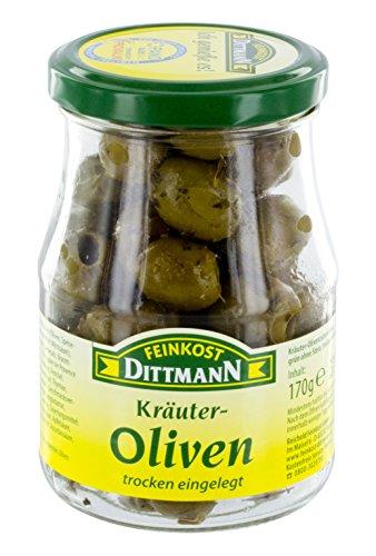 Feinkost Dittmann Kräuter Oliven, grün ohne Stein Trocken eingelegt Glas, 3er Pack (3 x 170 g)