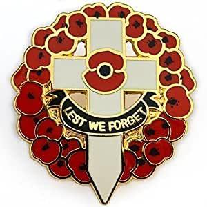 WW1 Centenary White Cross and Red Poppy Wreath Lapel Pin Remembrance Day Badge LEST WE FORGET UK SELLER