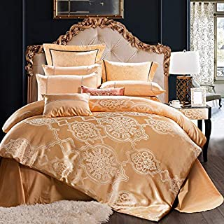 Alicemall 4 Piece Sateen Cotton European Jacquard Duvet Cover Sets,Delicate Floral Pattern Bedding Sets,Duvet Cover Flat Sheet and 2 Pillowcases (Gold Yellow, King)