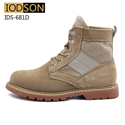 8f65fd7d27b IODSON Mens' Ultra-light combat Boots Beige Military Tactical Work Boots  Beige 8.5 UK