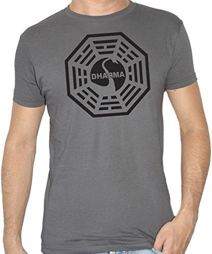 New indastria t-shirt lost serie tv simbolo dharma-cult - by uomo-xl - grigio antracite