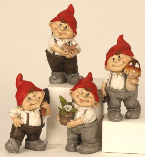 4 süße Gnome Zwerg Gartenzwerg 22 cm rote Mütze Figuren für Haus und Garten