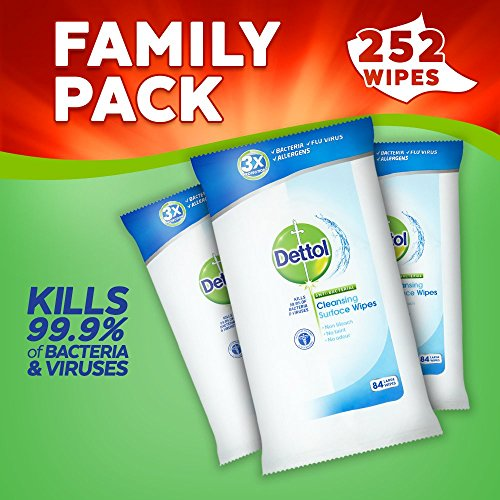 Dettol Anti-Bacterial Cleansing Surface Wipes, 252 Wipes, Pack of 3 x 84