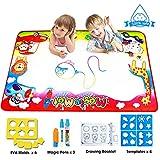 FishOaky Aqua Doodle Matte, Wasser Aqua Doodle Malmatte Kids Baby Toddler mit 3 Magic Stifte und 4 Zeichnungsvorlagen(87*58cm)